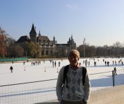 Budapest Walking Tour. In front of the Ice Skate Rink of the City Park.