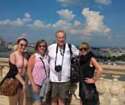 Budapest Walking Tour. On the terrace of the Royal Palace in Buda.